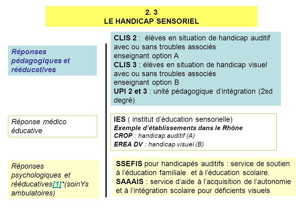2. 3 LE HANDICAP SENSORIEL Réponses pédagogiques et rééducatives Réponse médico éducative Réponses psychologiques et rééducatives[1]*(soinYs ambulatoi