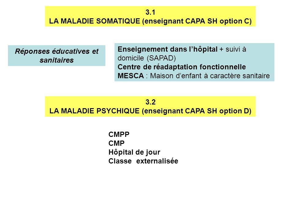 3.1 LA MALADIE SOMATIQUE (enseignant CAPA SH option C) Réponses éducatives et sanitaires Enseignement dans lhôpital + suivi à domicile (SAPAD) Centre