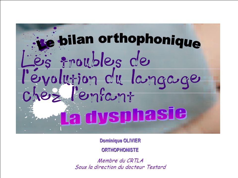 Dominique OLIVIER ORTHOPHONISTE Membre du CRTLA Sous la direction du docteur Testard