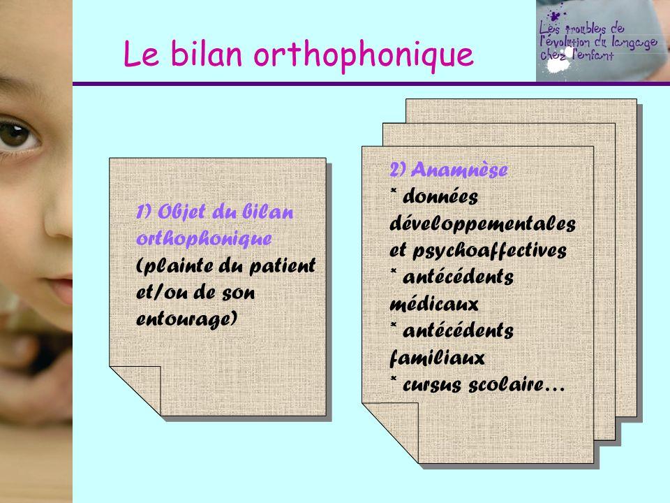 Le bilan orthophonique 1) Objet du bilan orthophonique (plainte du patient et/ou de son entourage) 2) Anamnèse * données développementales et psychoaf