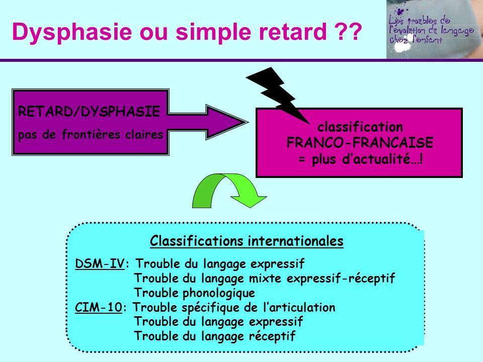 Dysphasie ou simple retard ?? RETARD/DYSPHASIE pas de frontières claires Classifications internationales DSM-IV: Trouble du langage expressif Trouble
