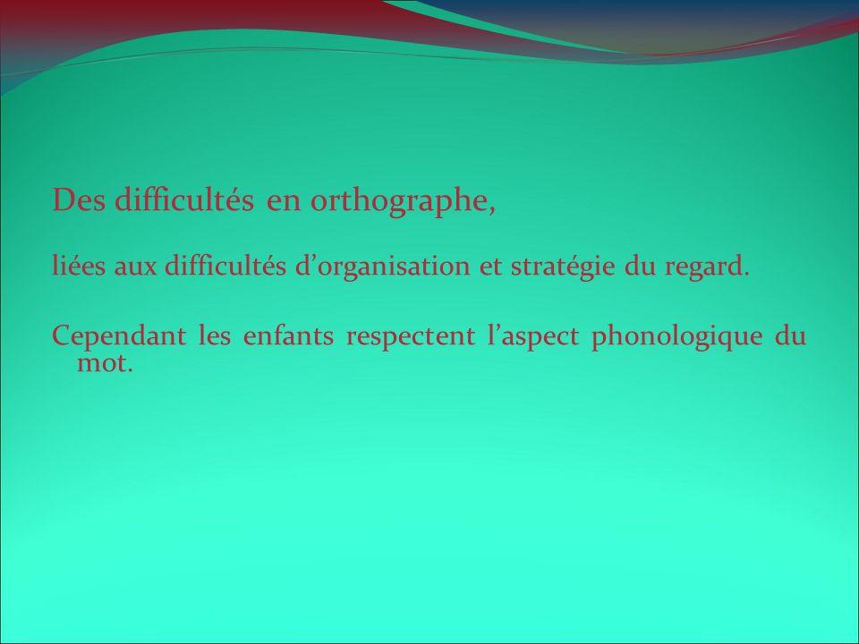 Des difficultés en orthographe, liées aux difficultés dorganisation et stratégie du regard. Cependant les enfants respectent laspect phonologique du m