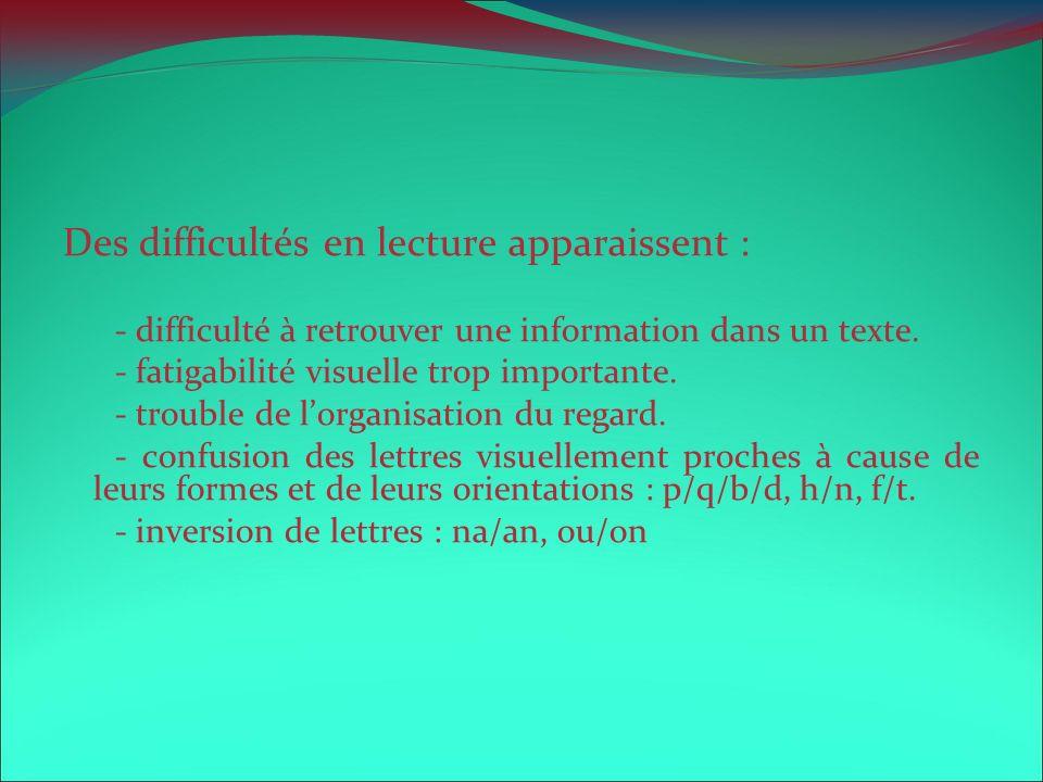 Des difficultés en lecture apparaissent : - difficulté à retrouver une information dans un texte. - fatigabilité visuelle trop importante. - trouble d