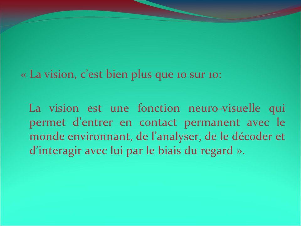 « La vision, cest bien plus que 10 sur 10: La vision est une fonction neuro-visuelle qui permet dentrer en contact permanent avec le monde environnant