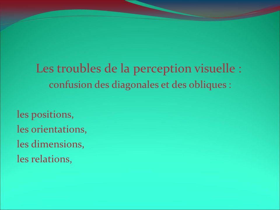 Les troubles de la perception visuelle : confusion des diagonales et des obliques : les positions, les orientations, les dimensions, les relations,