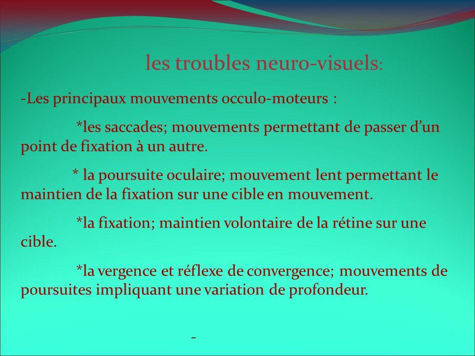les troubles neuro-visuels : -Les principaux mouvements occulo-moteurs : *les saccades; mouvements permettant de passer dun point de fixation à un aut