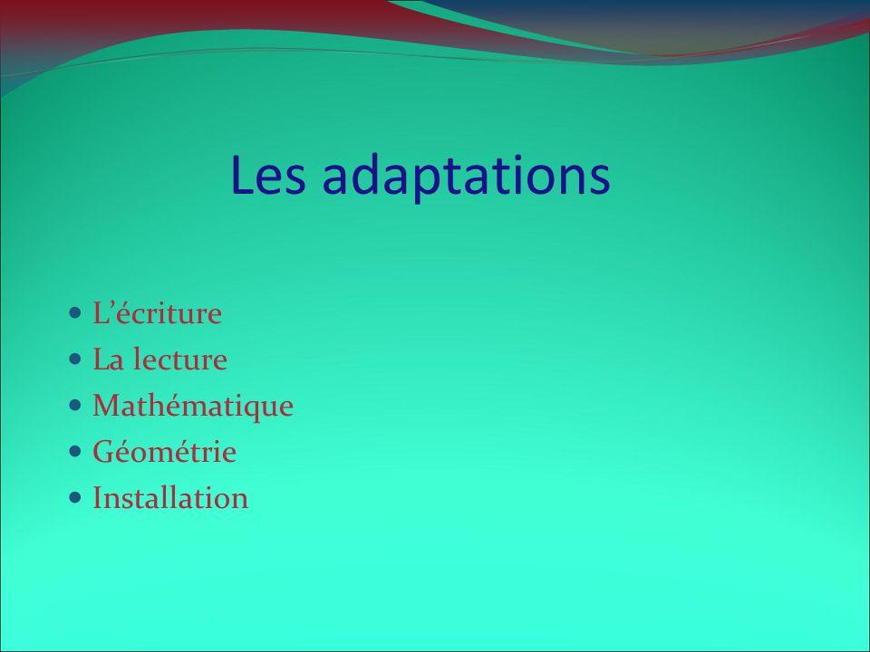 Les adaptations Lécriture La lecture Mathématique Géométrie Installation