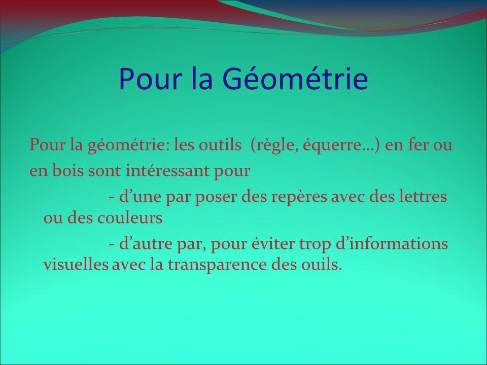 Pour la Géométrie Pour la géométrie: les outils (règle, équerre…) en fer ou en bois sont intéressant pour - dune par poser des repères avec des lettre