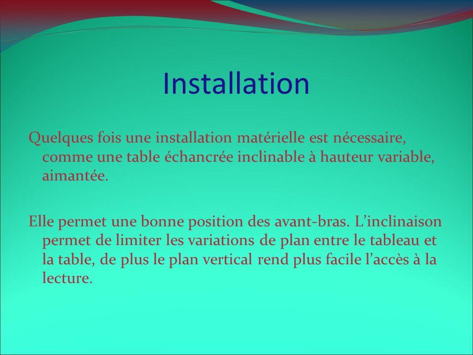 Installation Quelques fois une installation matérielle est nécessaire, comme une table échancrée inclinable à hauteur variable, aimantée. Elle permet