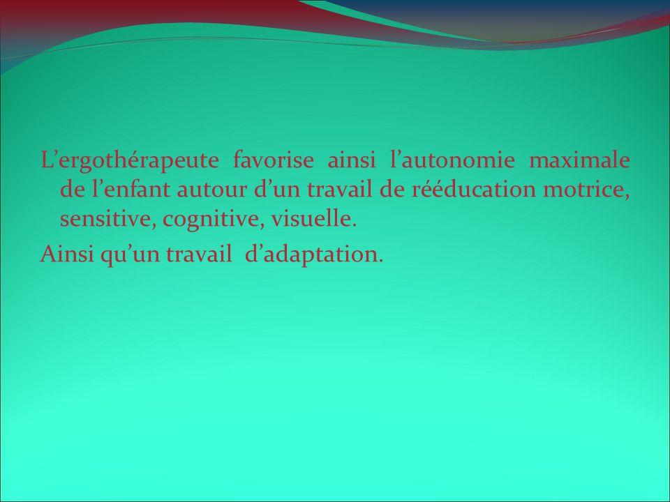 Lergothérapeute favorise ainsi lautonomie maximale de lenfant autour dun travail de rééducation motrice, sensitive, cognitive, visuelle. Ainsi quun tr