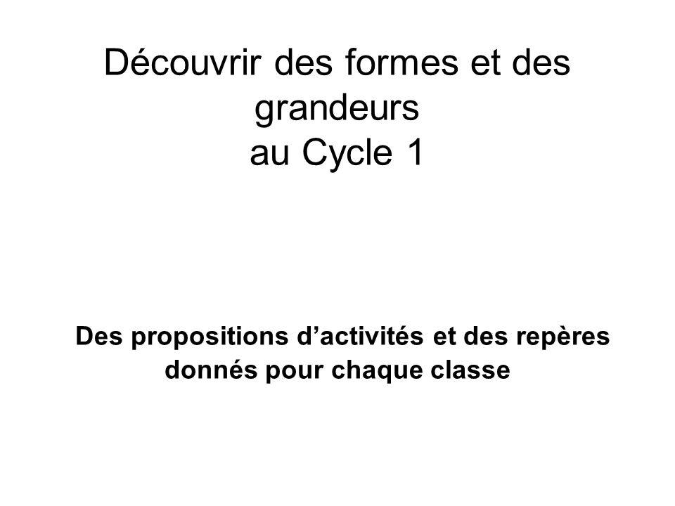 Découvrir des formes et des grandeurs au Cycle 1 Des propositions dactivités et des repères donnés pour chaque classe