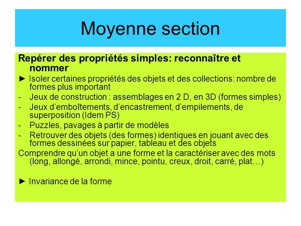 Moyenne section Repérer des propriétés simples: reconnaître et nommer Isoler certaines propriétés des objets et des collections: nombre de formes plus