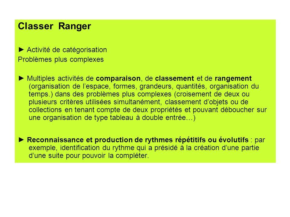 Classer Ranger Activité de catégorisation Problèmes plus complexes Multiples activités de comparaison, de classement et de rangement (organisation de