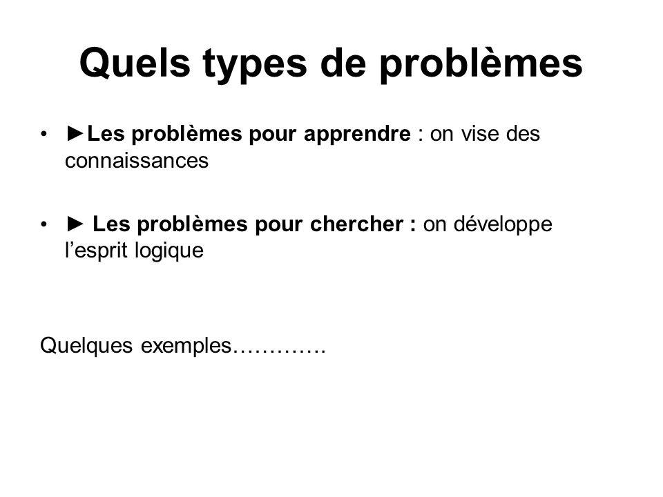 Quels types de problèmes Les problèmes pour apprendre : on vise des connaissances Les problèmes pour chercher : on développe lesprit logique Quelques