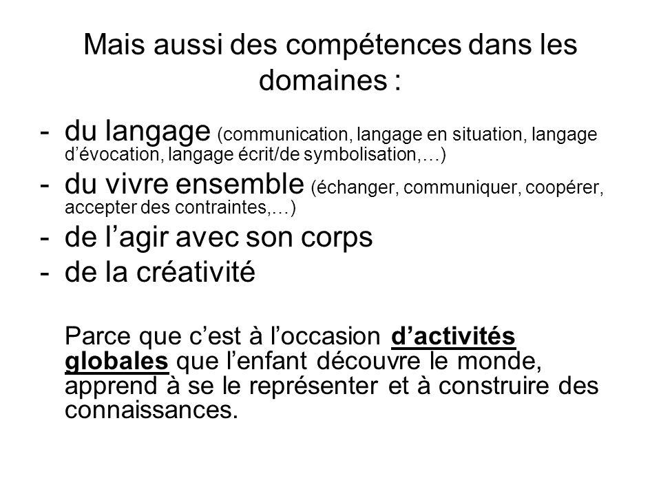 Mais aussi des compétences dans les domaines : -du langage (communication, langage en situation, langage dévocation, langage écrit/de symbolisation,…)