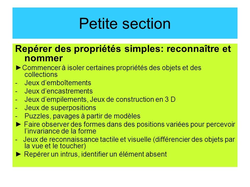 Petite section Repérer des propriétés simples: reconnaître et nommer Commencer à isoler certaines propriétés des objets et des collections -Jeux dembo