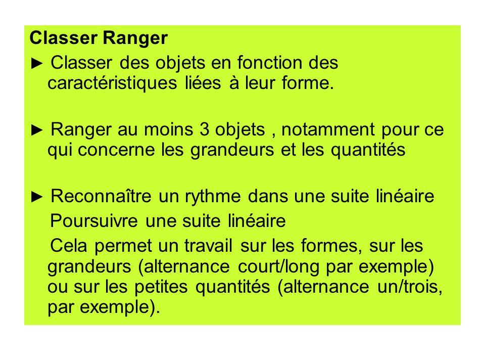 Classer Ranger Classer des objets en fonction des caractéristiques liées à leur forme. Ranger au moins 3 objets, notamment pour ce qui concerne les gr