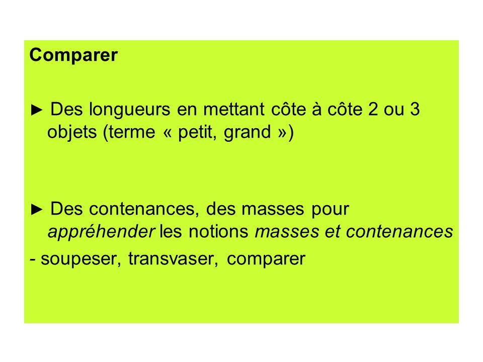 Comparer Des longueurs en mettant côte à côte 2 ou 3 objets (terme « petit, grand ») Des contenances, des masses pour appréhender les notions masses e