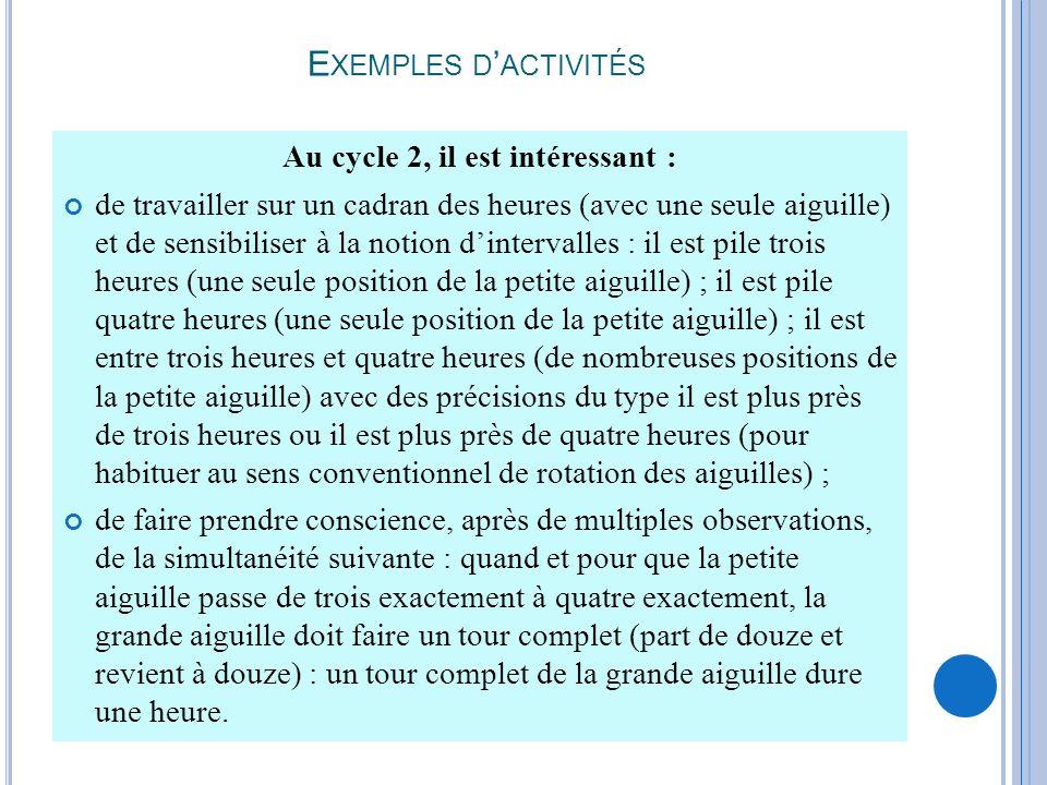 E XEMPLES D ACTIVITÉS Au cycle 2, il est intéressant : de travailler sur un cadran des heures (avec une seule aiguille) et de sensibiliser à la notion