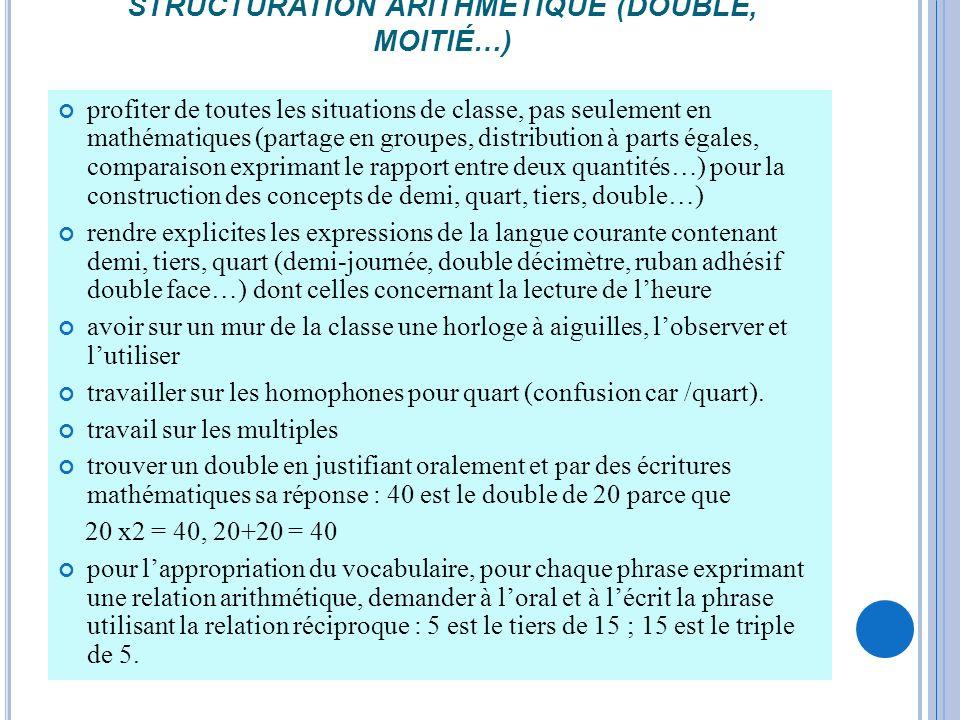 STRUCTURATION ARITHMÉTIQUE (DOUBLE, MOITIÉ…) profiter de toutes les situations de classe, pas seulement en mathématiques (partage en groupes, distribu