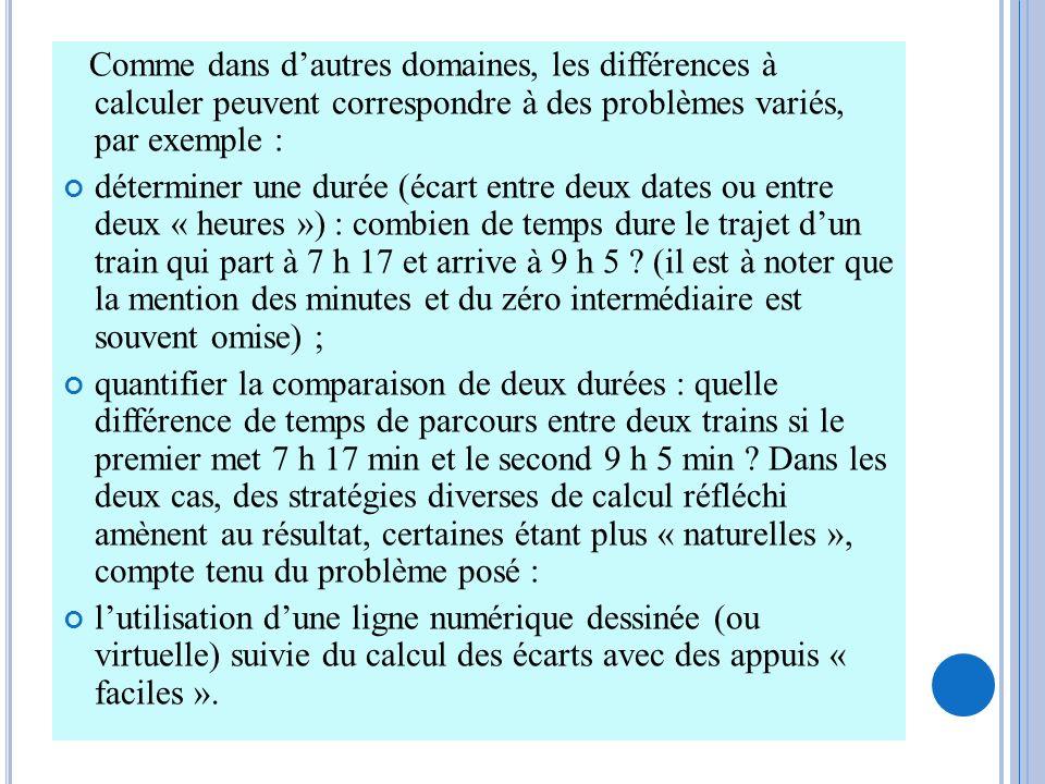 Comme dans dautres domaines, les différences à calculer peuvent correspondre à des problèmes variés, par exemple : déterminer une durée (écart entre d