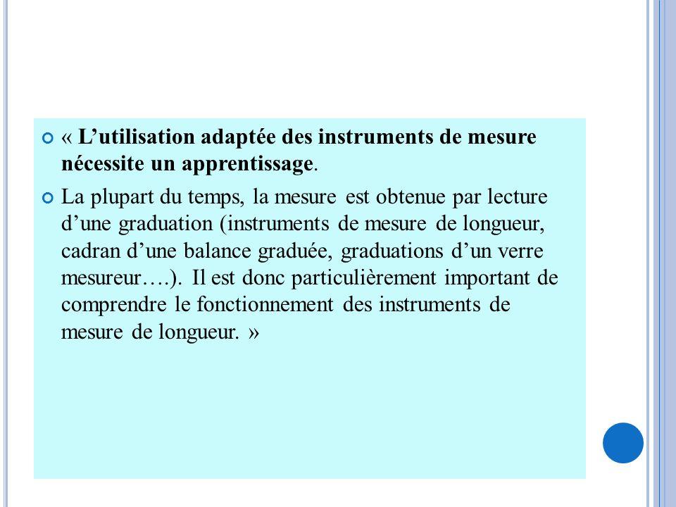 « Lutilisation adaptée des instruments de mesure nécessite un apprentissage. La plupart du temps, la mesure est obtenue par lecture dune graduation (i