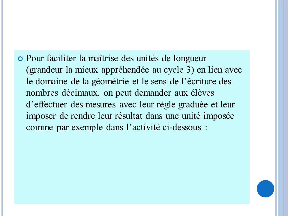 Pour faciliter la maîtrise des unités de longueur (grandeur la mieux appréhendée au cycle 3) en lien avec le domaine de la géométrie et le sens de léc