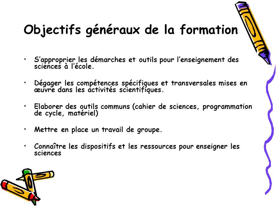 Objectifs généraux de la formation Sapproprier les démarches et outils pour lenseignement des sciences à lécole.