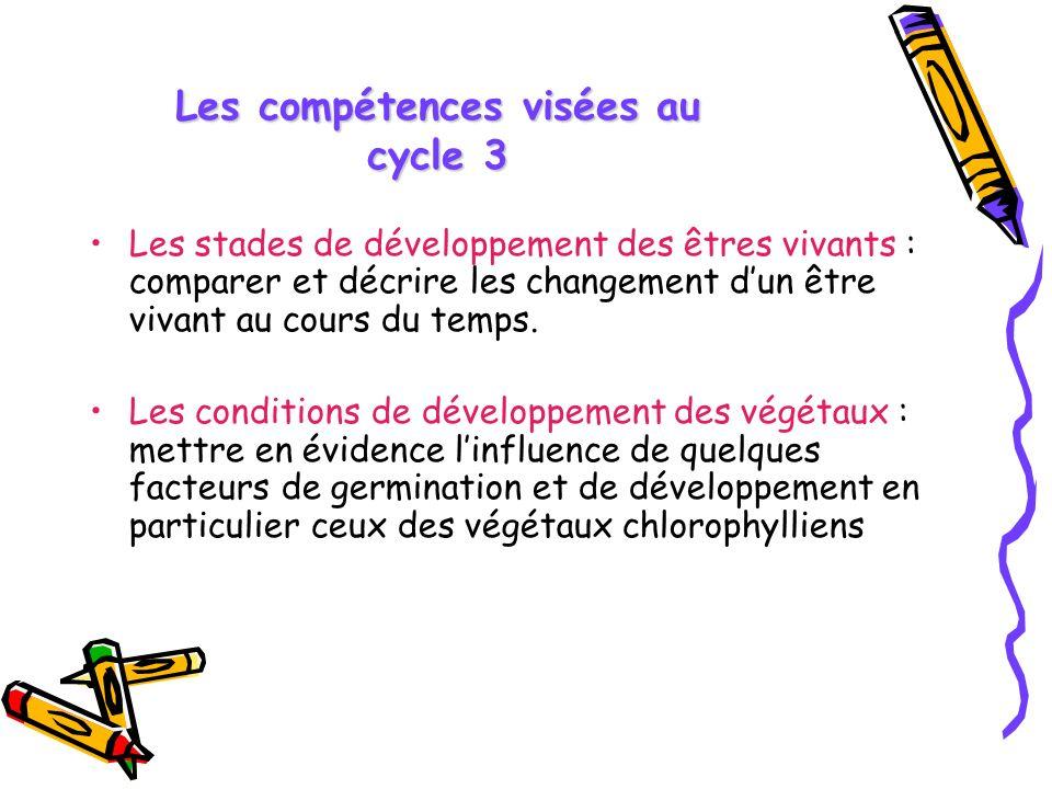 Les compétences visées au cycle 3 Les stades de développement des êtres vivants : comparer et décrire les changement dun être vivant au cours du temps.