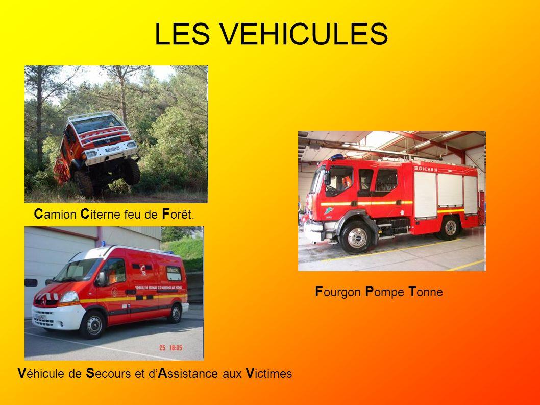LES VEHICULES F ourgon P ompe T onne V éhicule de S ecours et d A ssistance aux V ictimes C amion C iterne feu de F orêt.
