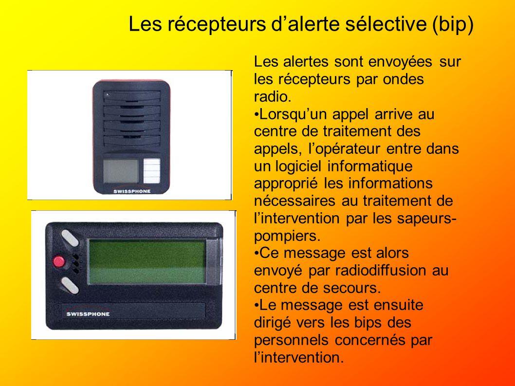 Les récepteurs dalerte sélective (bip) Les alertes sont envoyées sur les récepteurs par ondes radio. Lorsquun appel arrive au centre de traitement des