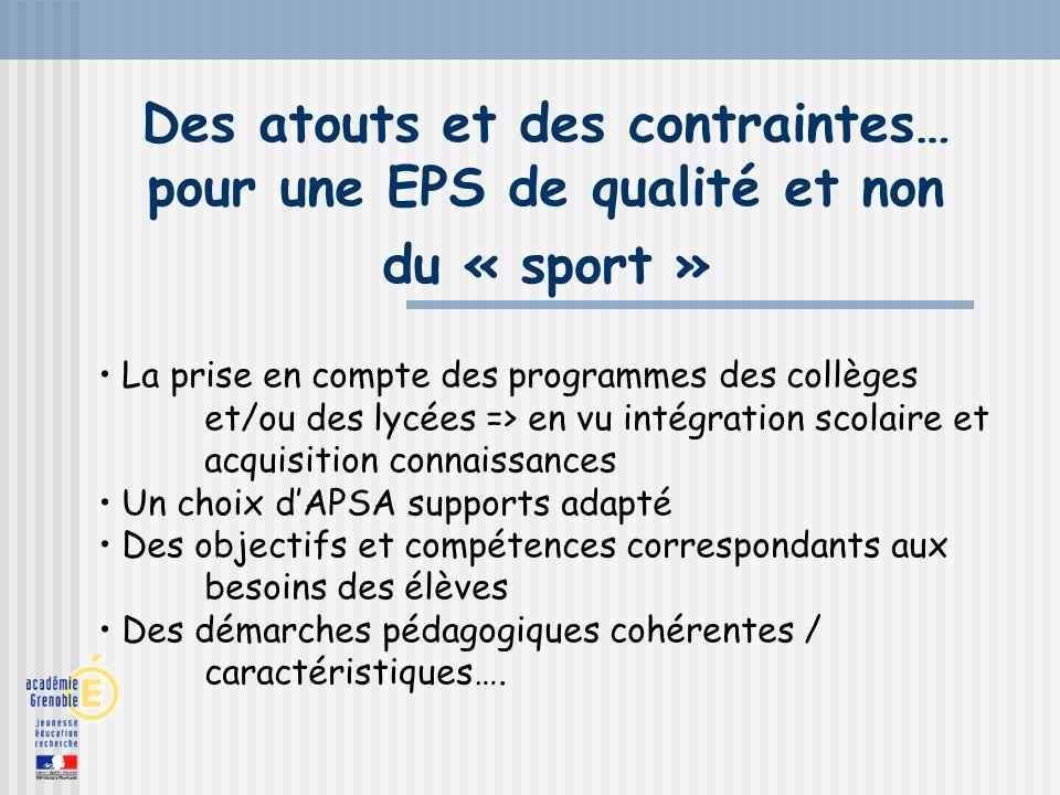 Des atouts et des contraintes… pour une EPS de qualité et non du « sport » La prise en compte des programmes des collèges et/ou des lycées => en vu in