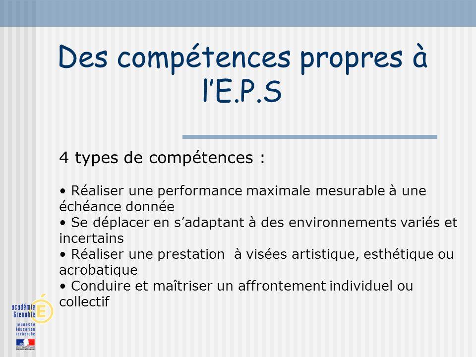 Des compétences propres à lE.P.S 4 types de compétences : Réaliser une performance maximale mesurable à une échéance donnée Se déplacer en sadaptant à