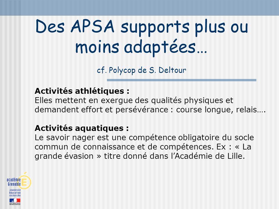 Des APSA supports plus ou moins adaptées… cf. Polycop de S. Deltour Activités athlétiques : Elles mettent en exergue des qualités physiques et demande