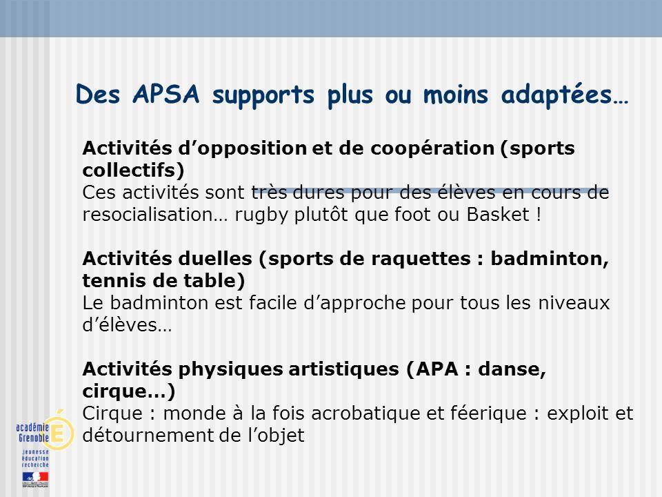 Des APSA supports plus ou moins adaptées… Activités dopposition et de coopération (sports collectifs) Ces activités sont très dures pour des élèves en cours de resocialisation… rugby plutôt que foot ou Basket .