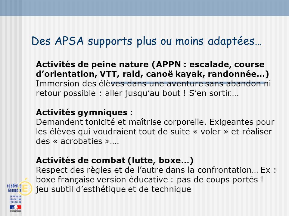 Des APSA supports plus ou moins adaptées… Activités de peine nature (APPN : escalade, course dorientation, VTT, raid, canoë kayak, randonnée…) Immersi