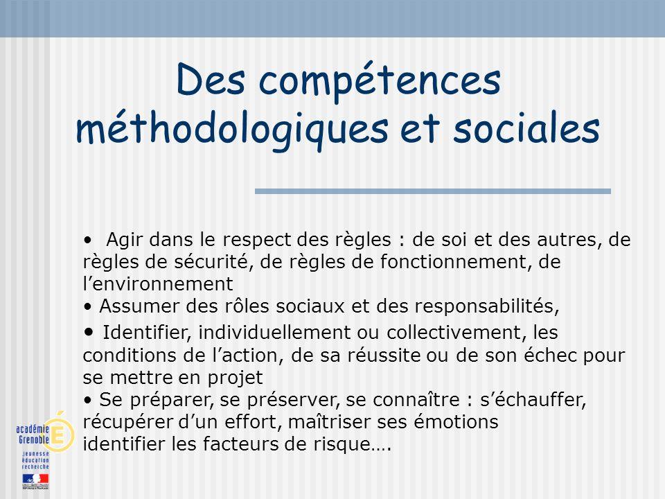Des compétences méthodologiques et sociales Agir dans le respect des règles : de soi et des autres, de règles de sécurité, de règles de fonctionnement