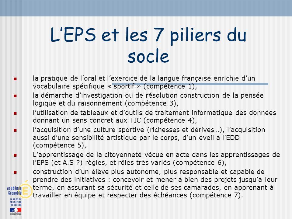 LEPS et les 7 piliers du socle la pratique de loral et lexercice de la langue française enrichie dun vocabulaire spécifique « sportif » (compétence 1)
