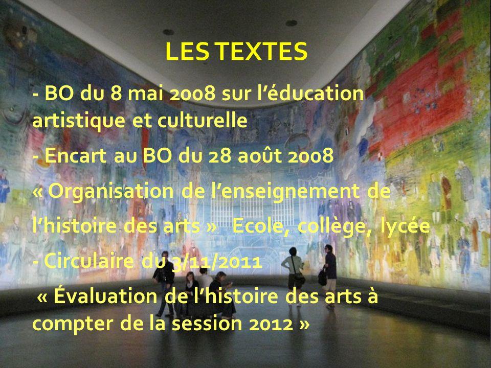 - BO du 8 mai 2008 sur léducation artistique et culturelle - Encart au BO du 28 août 2008 « Organisation de lenseignement de lhistoire des arts » Ecol