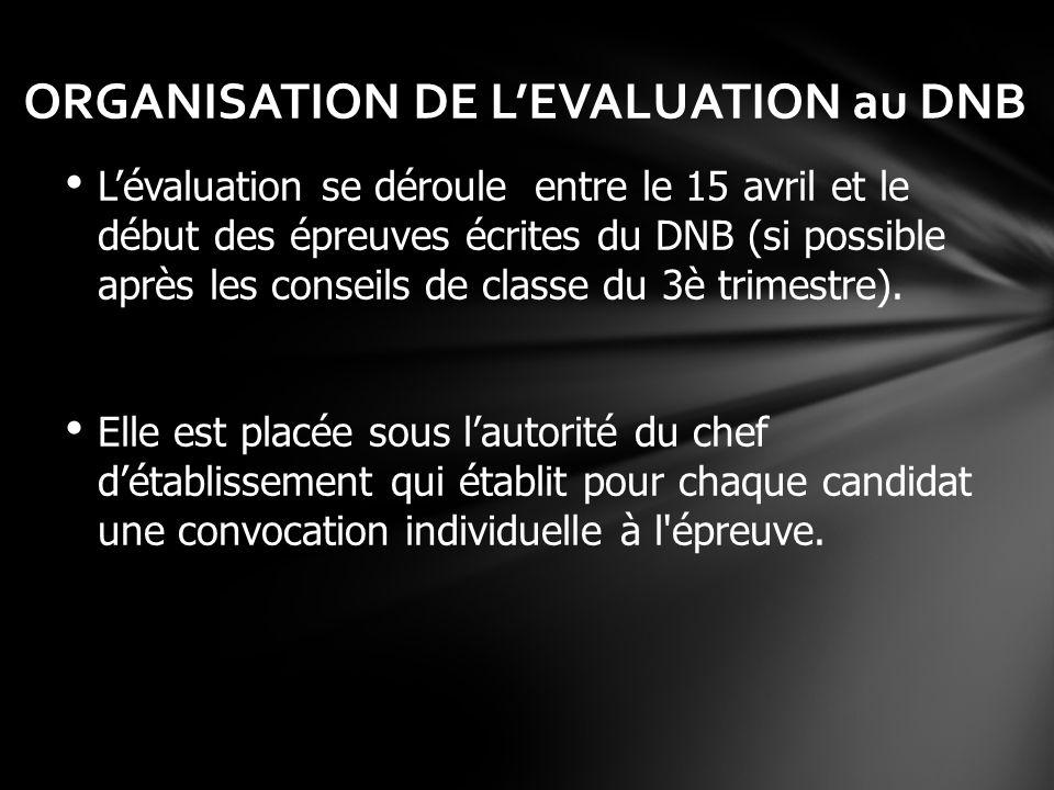 ORGANISATION DE LEVALUATION au DNB Lévaluation se déroule entre le 15 avril et le début des épreuves écrites du DNB (si possible après les conseils de
