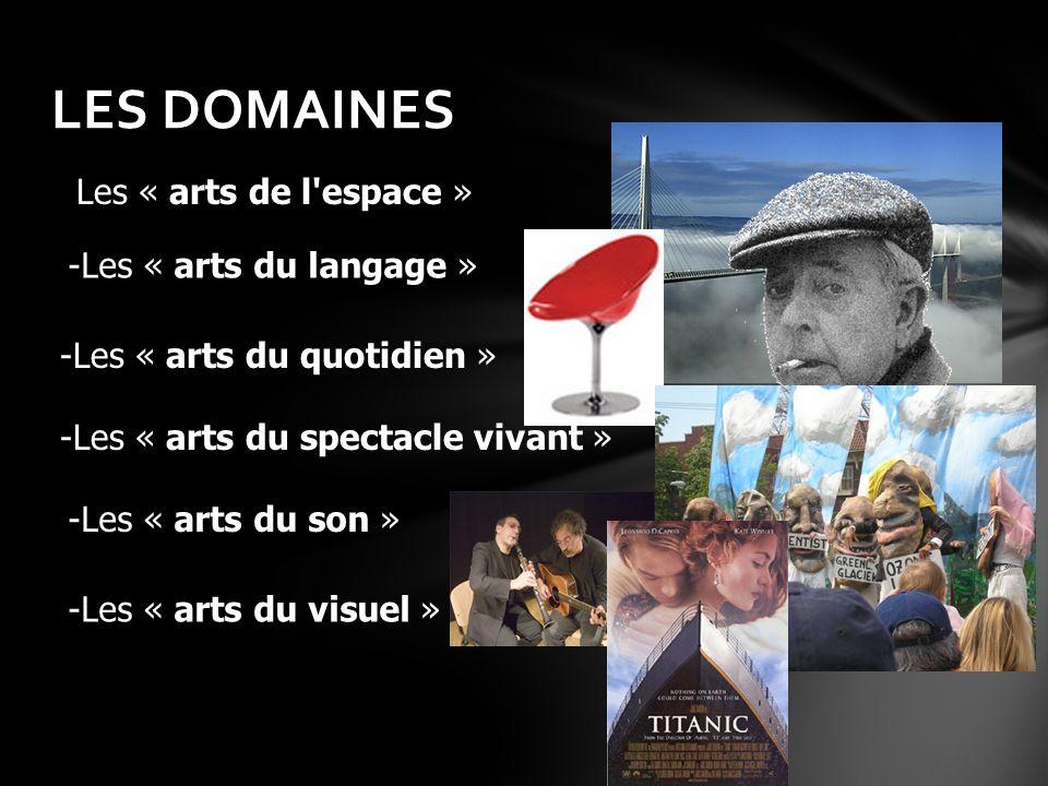LES DOMAINES Les « arts de l'espace » -Les « arts du langage » -Les « arts du quotidien » -Les « arts du son » -Les « arts du spectacle vivant » -Les