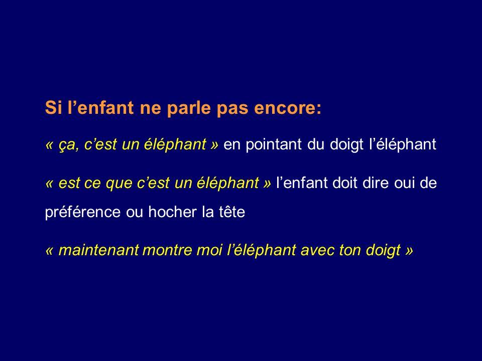 Si lenfant ne parle pas encore: « ça, cest un éléphant » en pointant du doigt léléphant « est ce que cest un éléphant » lenfant doit dire oui de préférence ou hocher la tête « maintenant montre moi léléphant avec ton doigt »
