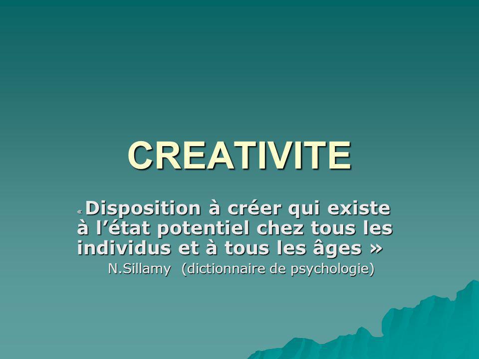 CREATIVITE « Disposition à créer qui existe à létat potentiel chez tous les individus et à tous les âges » N.Sillamy (dictionnaire de psychologie) N.Sillamy (dictionnaire de psychologie)