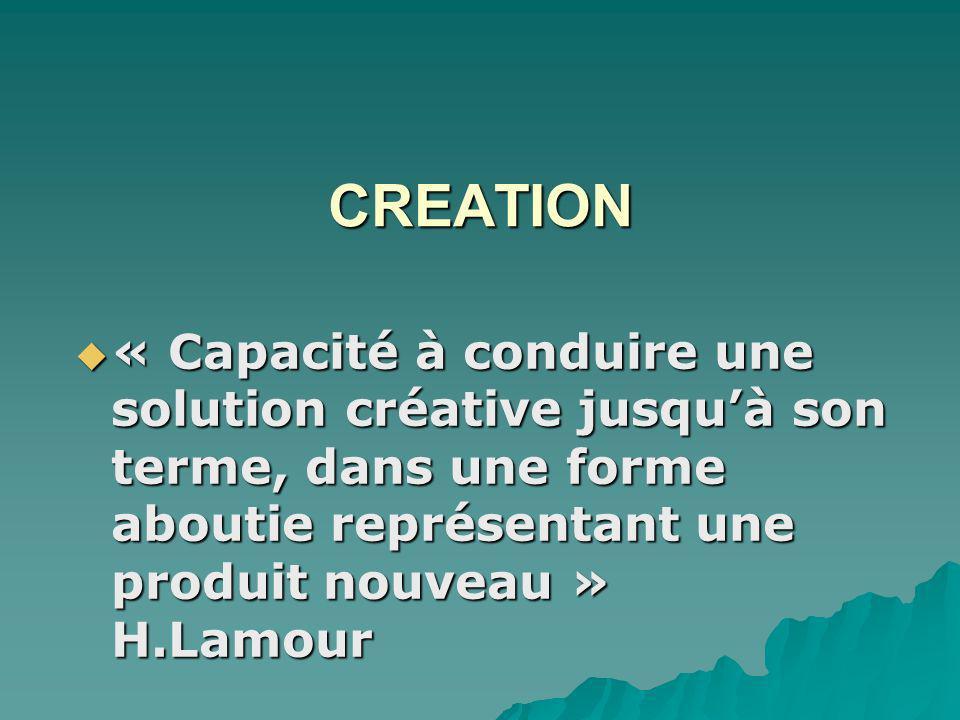 CREATION « Capacité à conduire une solution créative jusquà son terme, dans une forme aboutie représentant une produit nouveau » H.Lamour « Capacité à conduire une solution créative jusquà son terme, dans une forme aboutie représentant une produit nouveau » H.Lamour