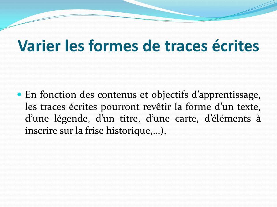 Les écrits de travail La pratique de synthèses partielles favorise lattention et la mémorisation des élèves par lalternance dactivités collectives et individuelles.