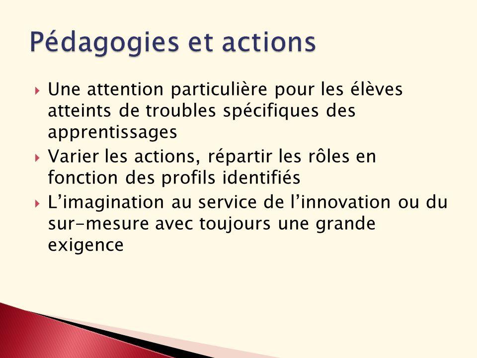Une attention particulière pour les élèves atteints de troubles spécifiques des apprentissages Varier les actions, répartir les rôles en fonction des