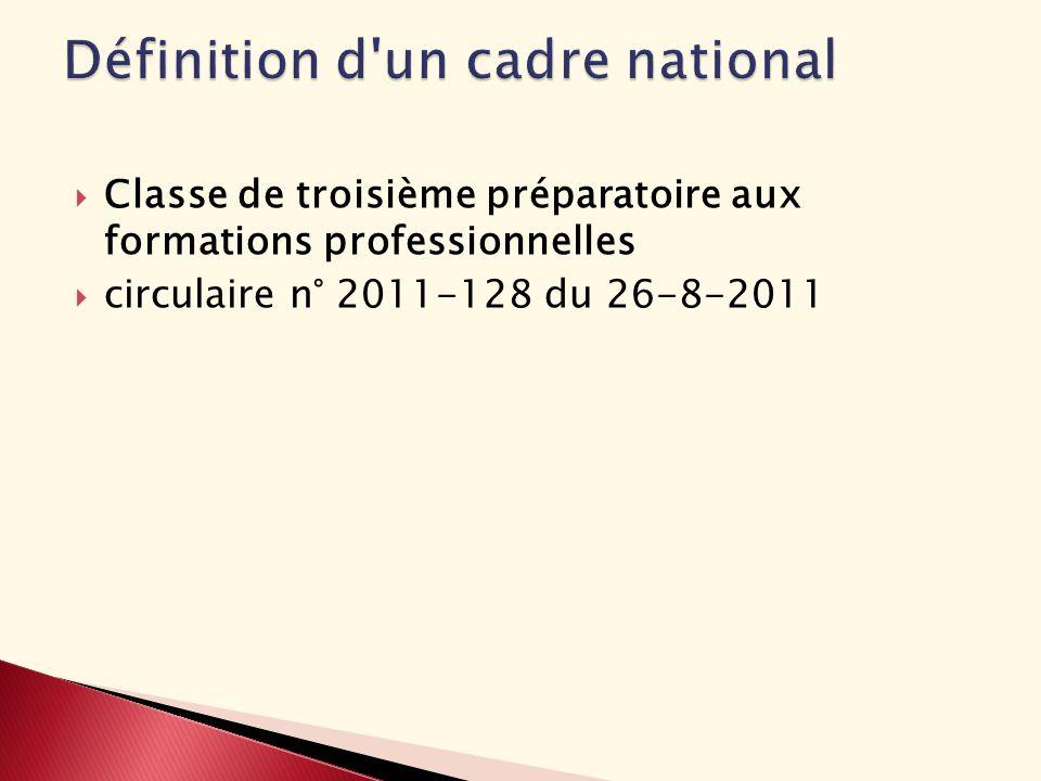 Classe de troisième préparatoire aux formations professionnelles circulaire n° 2011-128 du 26-8-2011