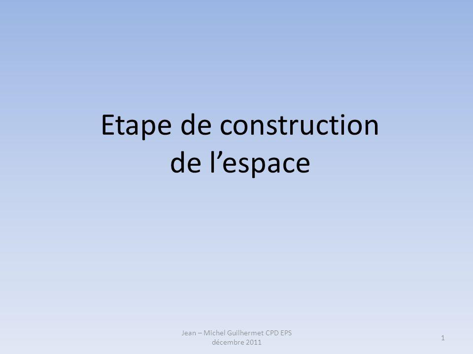 Etape de construction de lespace 1 Jean – Michel Guilhermet CPD EPS décembre 2011