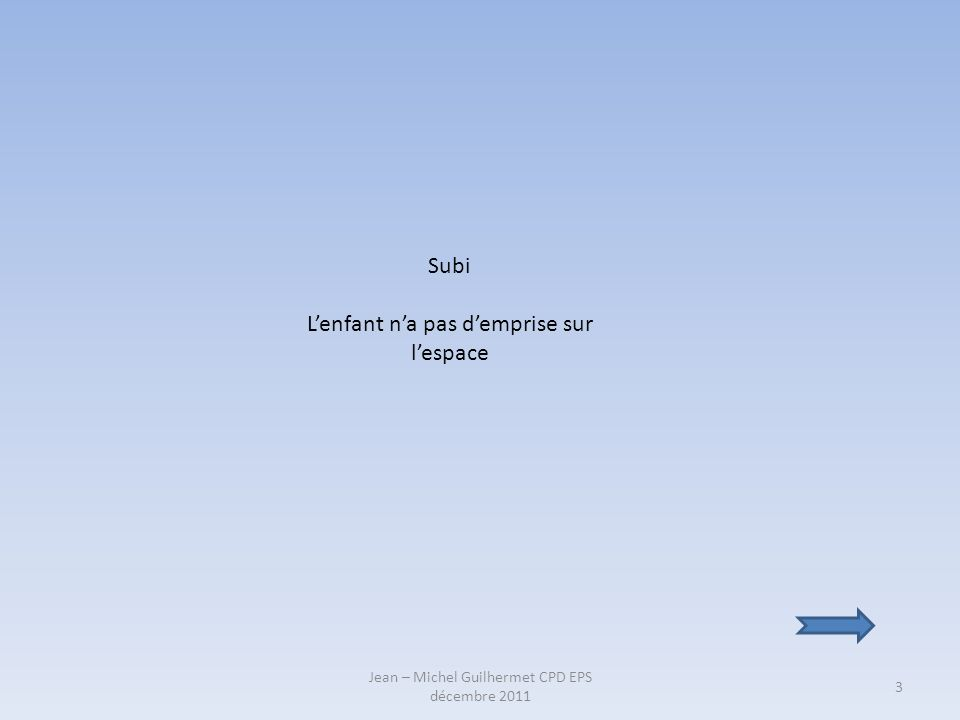 Jean – Michel Guilhermet CPD EPS décembre 2011 3 Subi Lenfant na pas demprise sur lespace