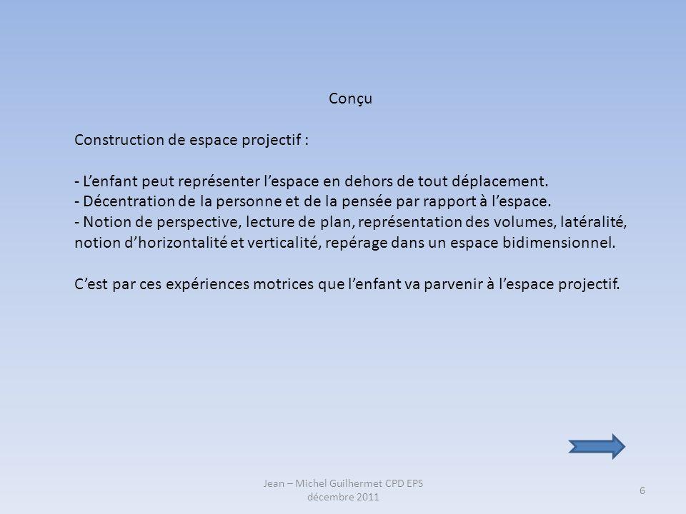 Jean – Michel Guilhermet CPD EPS décembre 2011 6 Conçu Construction de espace projectif : - Lenfant peut représenter lespace en dehors de tout déplace